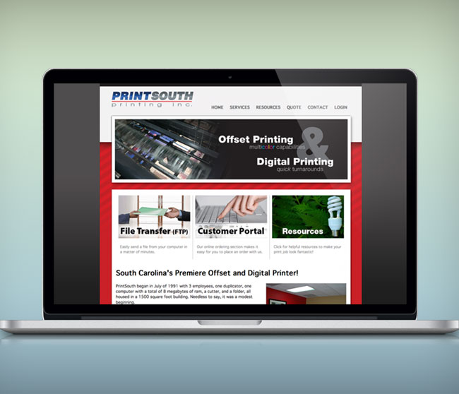 printsouth printing website design