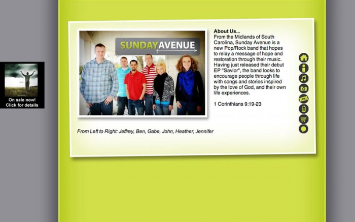 sunday avenue christian band web site about us page