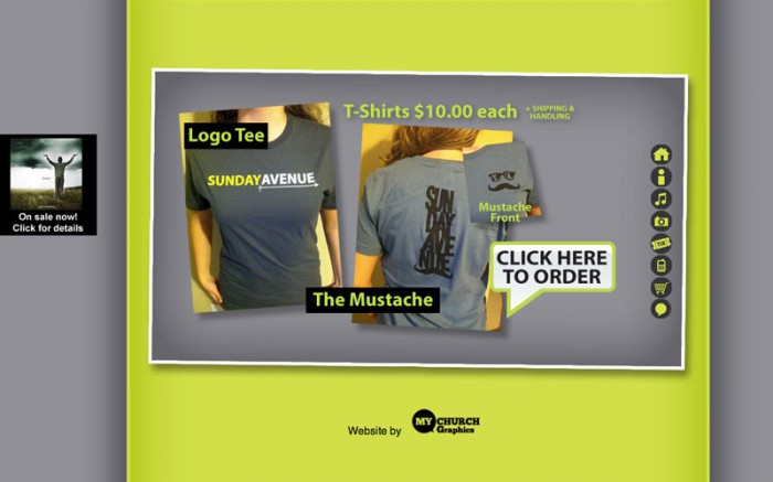 sunday avenue christian band web site merchandise page