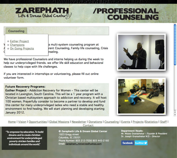 zarephath ministries web site counseling page