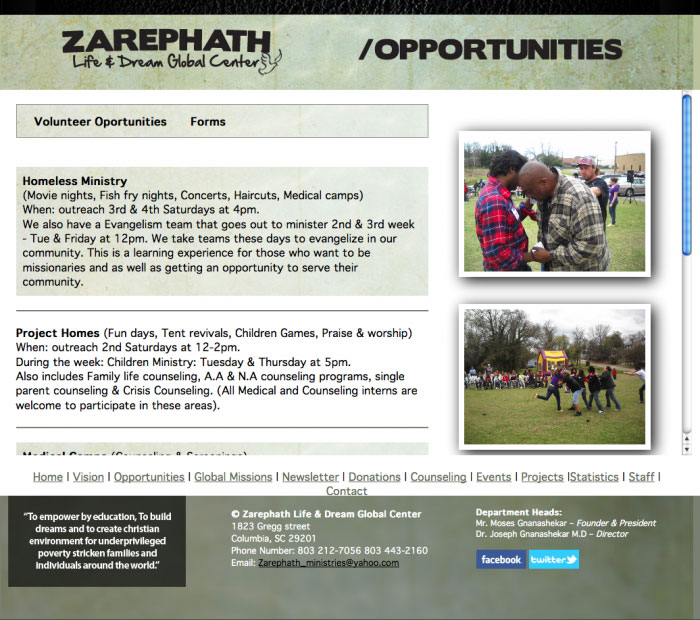 zarephath ministries web site opportunities page